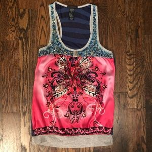 Beautiful unique silk blend tank top with sequins